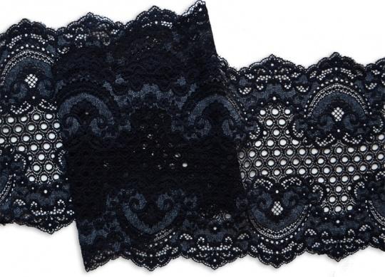 Spitzenband schwarz /grau 21cm