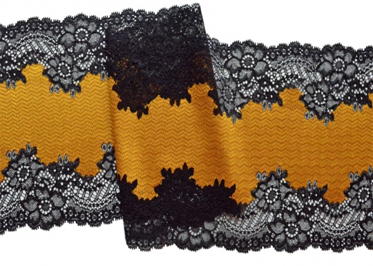 Spitzenband schwarz senfgelb 20cm