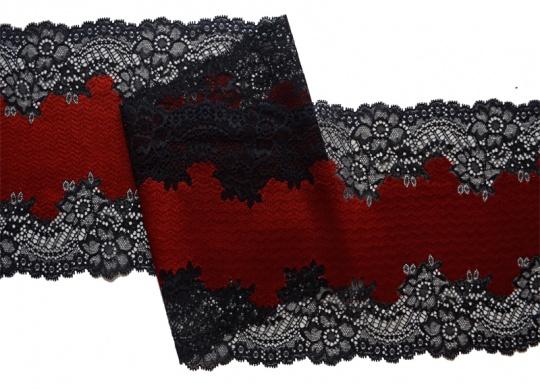 Spitzenband schwarz rot 20cm individuell abgeschnitten
