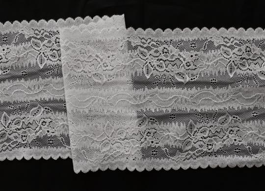 Spitzenband grau mit rosastich 17,5cm
