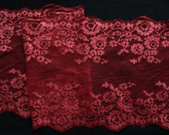 Spitzenband rot grau Melange 23cm