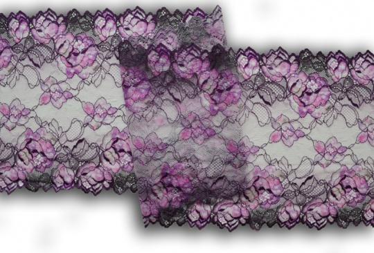 Spitzenband weiß lila grau 21cm individuell abgeschnitten