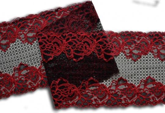 Spitzenband schwarz rot  22cm