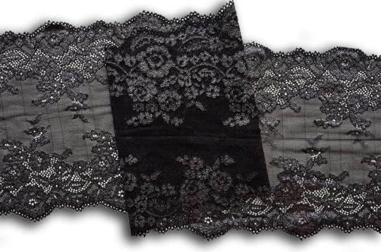 Spitzenband schwarz weiß Melange 22cm individuell abgeschnitten