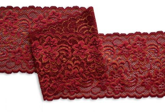 Spitzenband rot dunkel gold 14cm