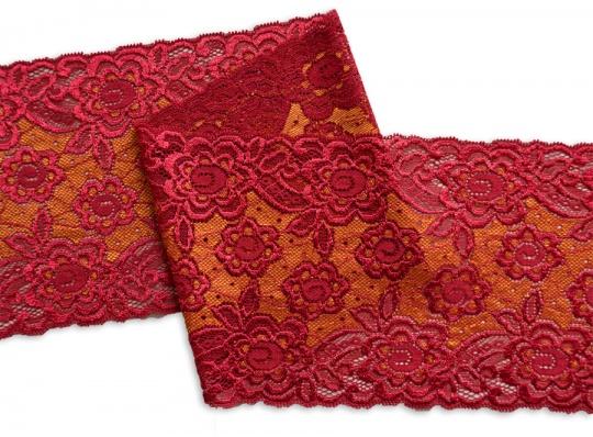 Spitzenband rot dunkel gold 15cm