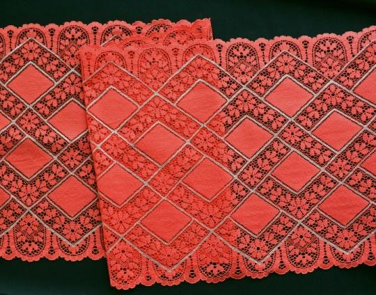Spitzenband rot-orange grau 23cm