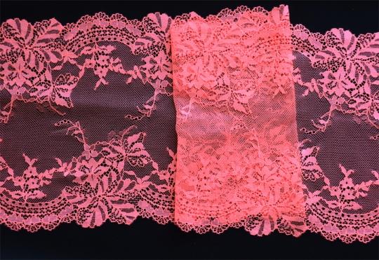 Spitzenband rosa-lachs neon 21cm