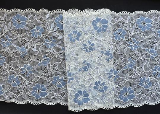 Spitzenband off-white blau 23cm