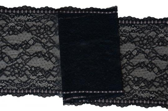 Spitzenband schwarz  Farbrichtung babyrosa 23,5cm