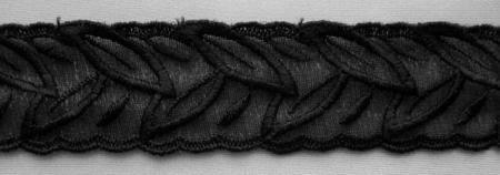 Stickerei - Spitzenband schwarz 3cm Meterware