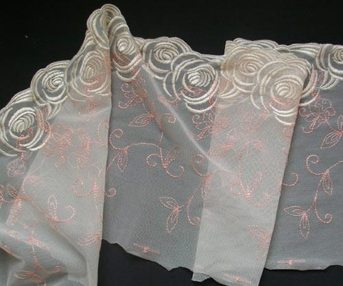 Stickerei - Spitzenband creme pink Meterware