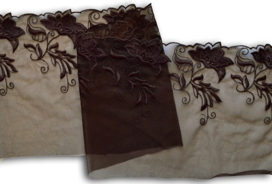 Stickerei - Spitzenband braun Blume  220mm (rechte und linke Seite)