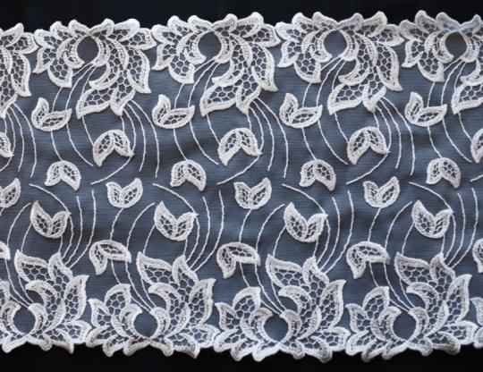 Stickereispitze unelastisch weiß 18cm