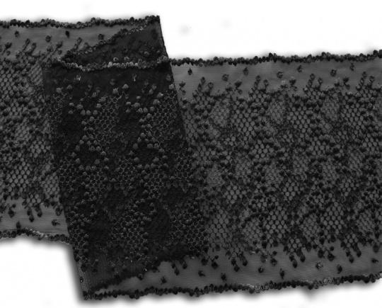 Stickereispitze unelastisch schwarz grau 22cm