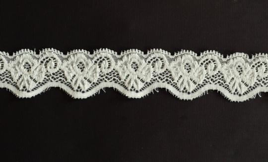 Spitzenband wollweiß 30-37 mm elastisch