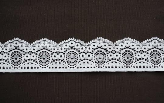 Spitzenband schmal weiß gedeckt 25-30mm