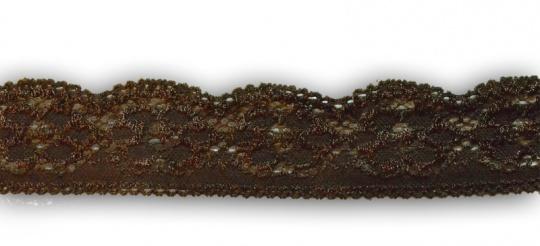 Spitzenband schmal braun elastisch 25-30mm