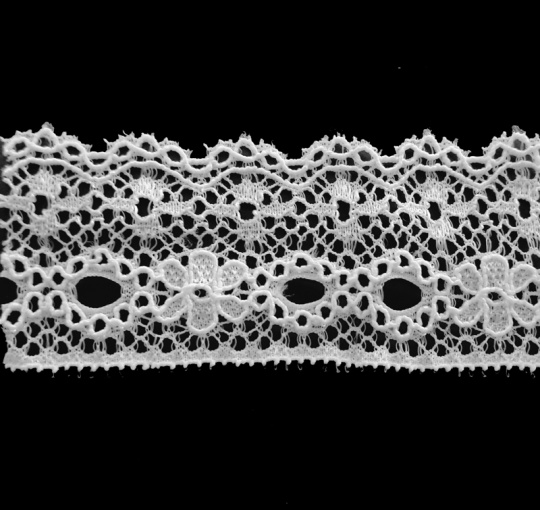 Spitzenband schmal weiß elastisch 30 mm