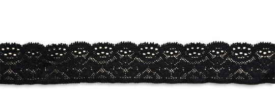Spitzenband schmal schwarz elastisch 36mm
