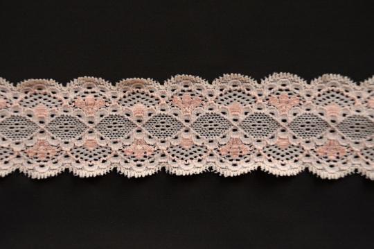Spitzenband schmal rosa elastisch 40-50mm