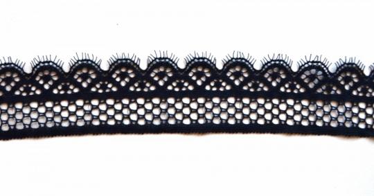 Spitzenband schmal schwarz Wimpern elastisch 45mm