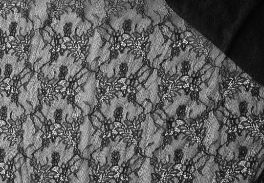 Alloverspitze elastisch schwarz Blumen